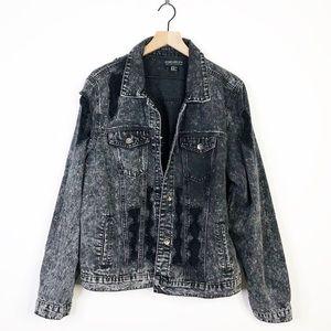Forever 21 Black Stone Wash Distress Denim Jacket